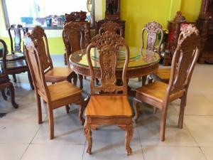 Bộ bàn ăn tròn 8 ghế có mâm xoay gỗ gõ đỏ 100%