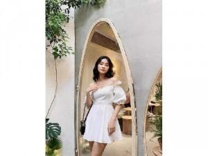 Đầm váy nữ trắng bẹt vai nhún eo phồng