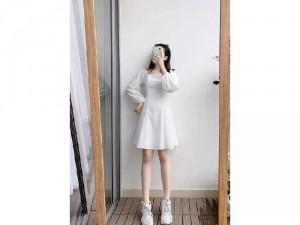 Đầm váy nữ trắng cổ vuông tay phồng xòe