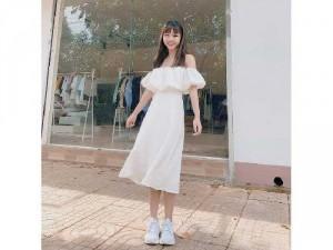 Set nữ trắng áo trễ vai phồng mix váy