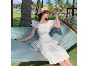 Đầm váy nữ trắng xòe tay cáh tiên hở lưg