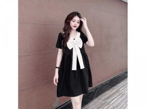 Đầm váy nữ đen suông phối trắng nơ cổ