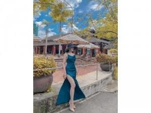 Đầm váy nữ maxi 2 dây xanh xẻ tà