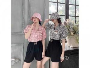 Set nữ 3 món áo sơ mi quần short mix nón