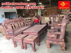 Bộ bàn ghế gỗ cẩm lai cột 16 lọc giác dưới 1% chạm nghê SIÊU VIP