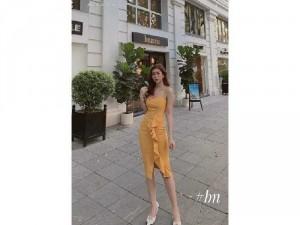 Đầm váy nữ body 2 dây xẻ đùi có 4 màu