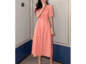 Đầm váy nữ sơ mi cổ sen hồng nhẹ nhàng