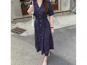Đầm váy nữ cổ vest xanh chấm bi nút