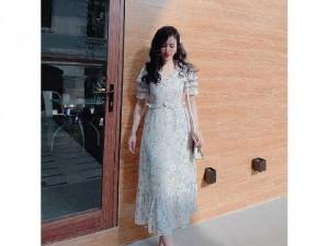 Đầm váy nữ hoa xanh bèo ngực