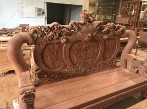 Bộ bàn ghế cột 14 siêu to chạm nghê đỉnh gỗ hương đá VIP