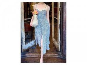 Đầm váy nữ 2 dây nơ xanh hoa baby