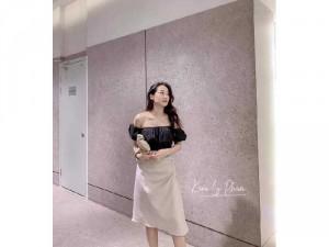 Set nữ áo đen croptop bẹt vai váy midi