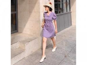 Đầm váy nữ hoa gam tím cổ sen tay phồng