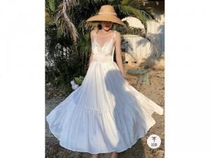 Đầm váy nữ maxi trắng 2 dây nơ xòe