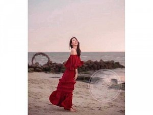 Set nữ đỏ nhún bẹt vai sang chảnh