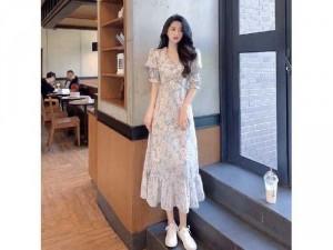 Đầm váy nữ maxi hoa xanh tay phồng đẹp