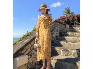 Đầm váy nữ maxi vàng hoa bẹt vai bèo