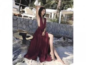 Đầm váy nữ maxi đỏ chéo hở lưng xẻ tà