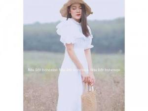Đầm váy nữ maxi trắng tay phồng cổ trụ