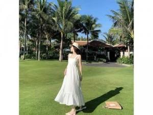 Đầm váy nữ maxi 2 dây nơ lưng có 2 màu