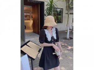 Đầm váy nữ xòe nút phối cổ sen trắng