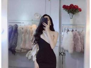 Đầm váy nữ đen body 1 vai phối nude