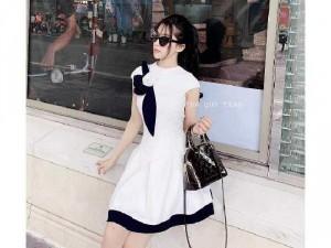 Đầm váy nữ xòe phối nơ hoa viền đen