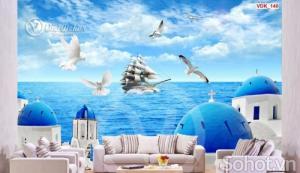 Tranh thuyền buồm xuôi gió