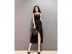 Đầm váy nữ midi đen 2 dây vai bèo xẻ tà
