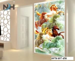 Tranh ngựa - gạch tranh phong thủy