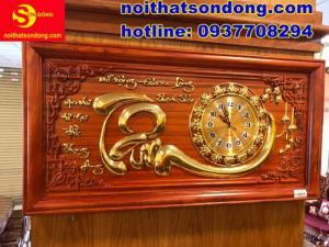 Tranh đồng hồ chữ Tâm dát vàng giá cực sốc