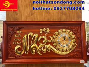 Tranh đồng hồ chữ Nhẫn dát vàng cực đẹp giá sốc