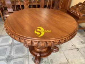 Mặt bàn ăn tròn nguyên tấm 1,2m x dày 12cm MBA06DPA mẫu VIP