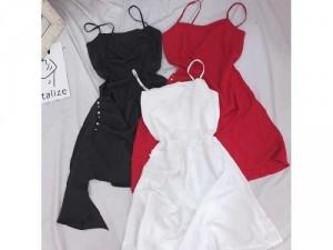 Đầm váy nữ 2 dây vạt bèo tà xéo 2 lớp