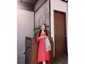 Đầm váy nữ đỏ đũi thêu hoa dág xòe bo eo