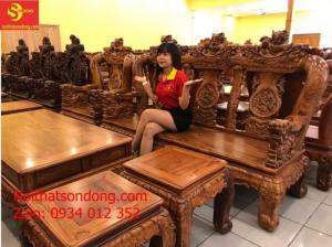 Bộ bàn ghế gỗ cẩm lai cột 14, 10 món đẹp nhất hiện nay