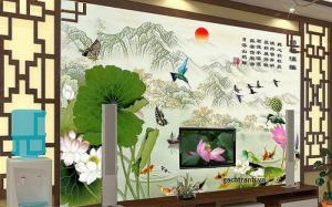 Tranh hoa sen - tranh gạch phong thủy