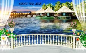 Tranh gạch 3D phong cảnh bãi biển