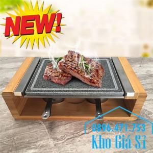 Tấm đá nướng thịt Hàn Quốc giữ nóng bằng cồn, Miếng đá nướng thịt QQB tại bàn