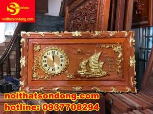 Tranh đồng hồ thuận buồm xuôi giá + Tranh đồng hồ chữ PHÚC dát vàng