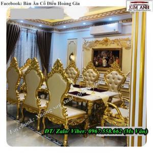 Bộ bàn ghế ăn cổ điển hoàng gia dát vàng cao cấp