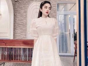 Đầm váy nữ xòe tay phồng 2màu trắng hồng