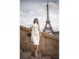 Đầm váy nữ trắng body trắng bèo cổ