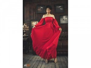 Đầm váy nữ maxi đỏ bẹt vai tay dài phồng