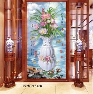 Tranh gạch men - tranh bình hoa