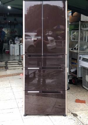 Tủ lạnh HITACHI R-G5200D 6 cánh, mặt gương màu NÂU ĐỎ, 517L, Date 2013