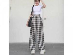 Áo croptop+quần ống rộng kẻ caro