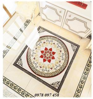 Thảm gạch khổ vuông hoa đỏ