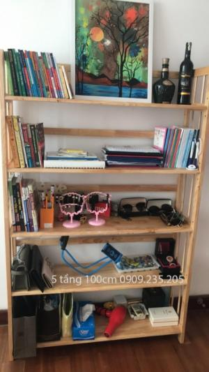 Kệ sách gỗ 5 tầng 100cm (Tự Nhiên)