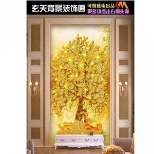 Tranh gạch 3D cây lá vàng